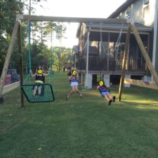 Basic freestanding swing set with a hammock swing