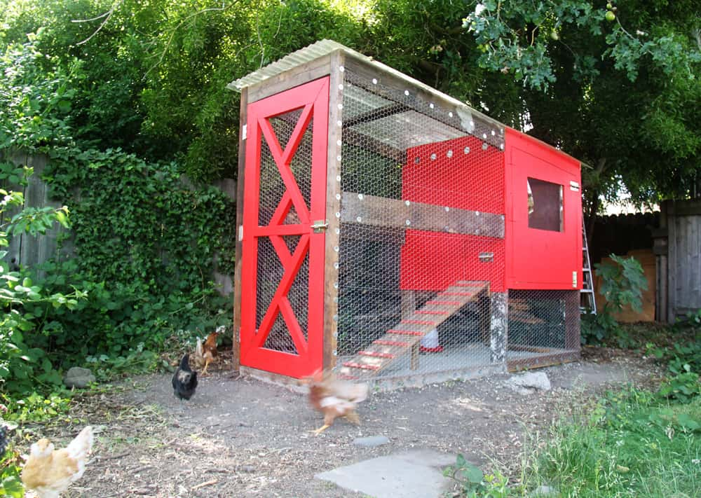 Bright red reclaimed wood and vinyl coop