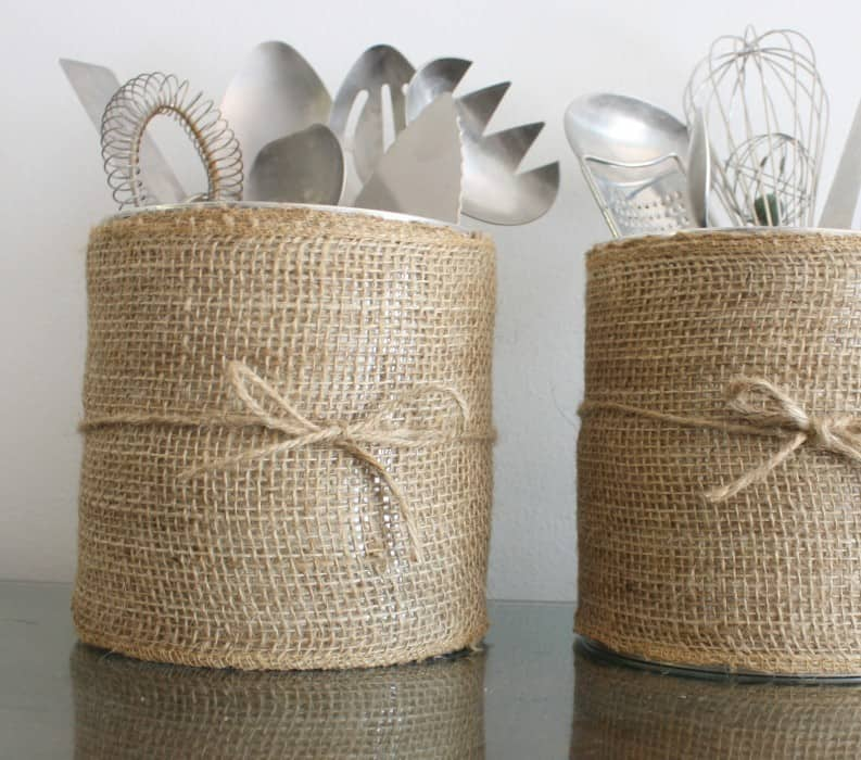 Burlap and coffee cannister utensil storage