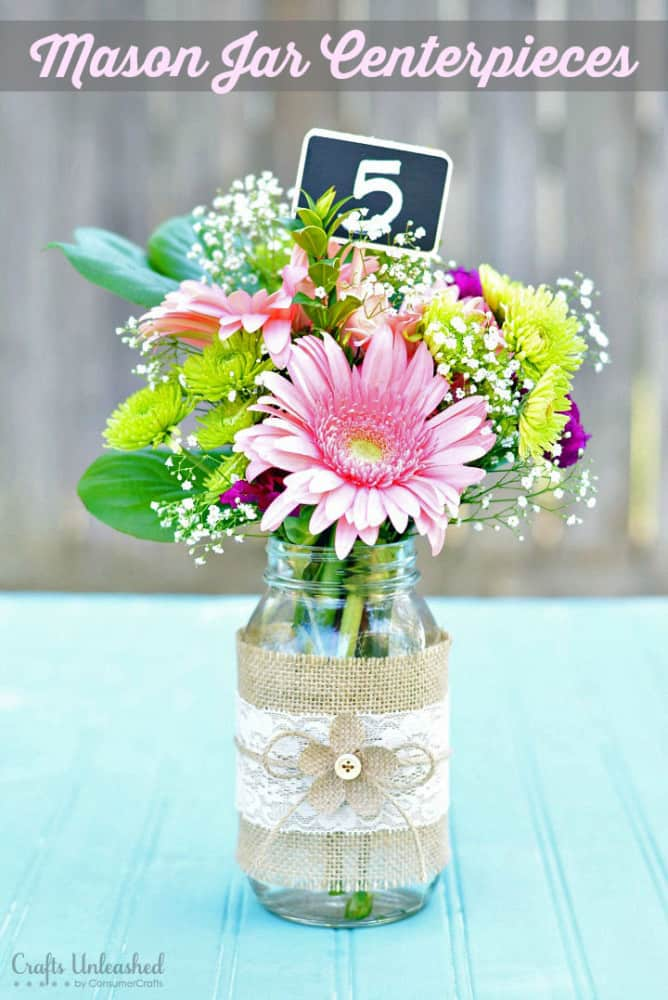 Burlap, lace, and mason jar bouquet