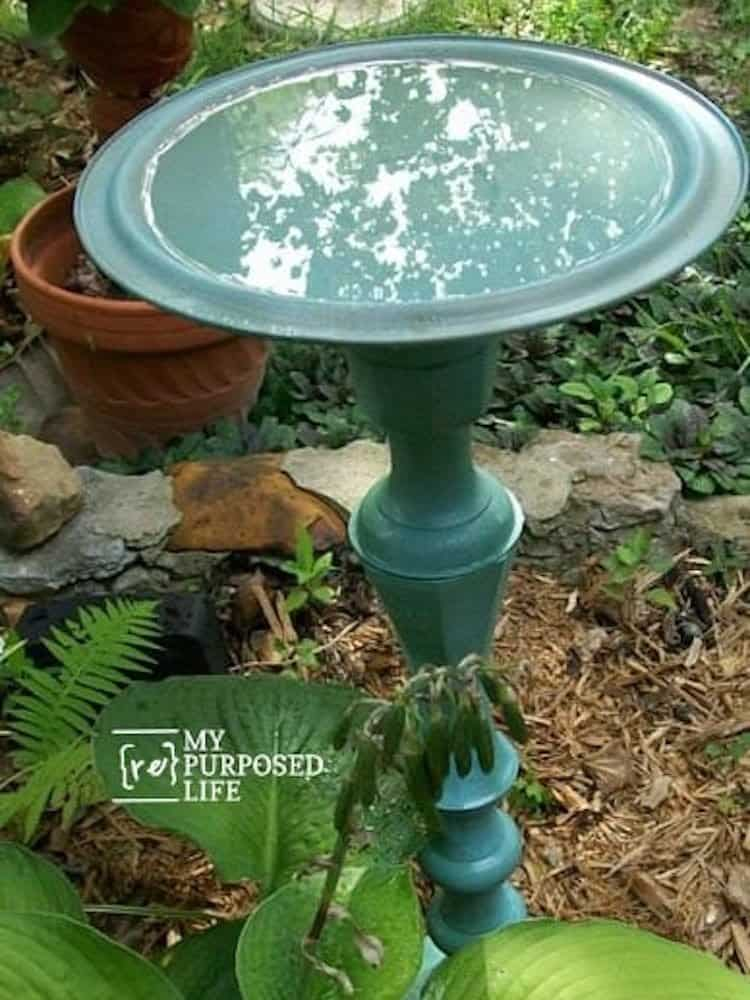 Candlestick and pot lid diy bird bath