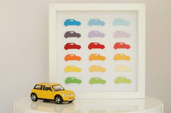Car cutout framed art