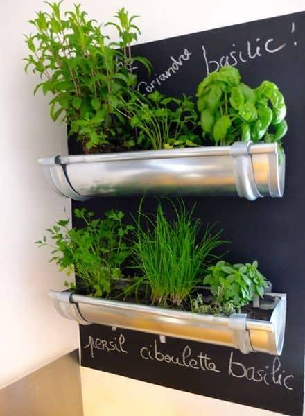 Chalkboard strip and rain gutter herb garden