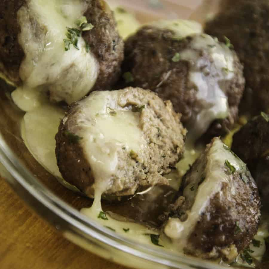Cheddar stuffed meatballs
