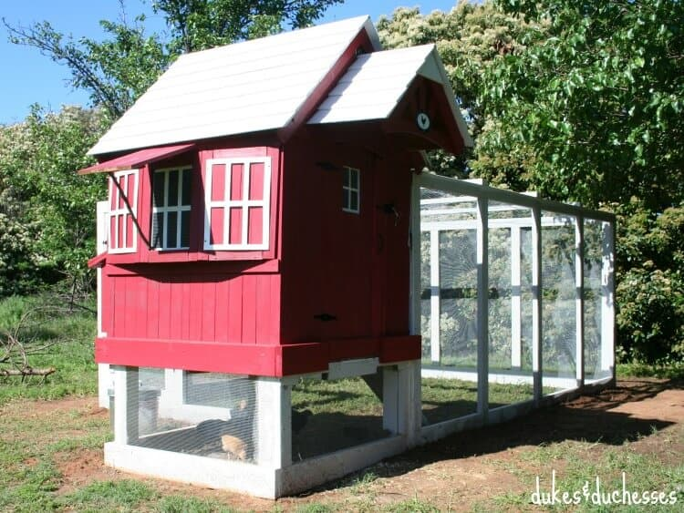 Chicken coop from a repurposed playhouse