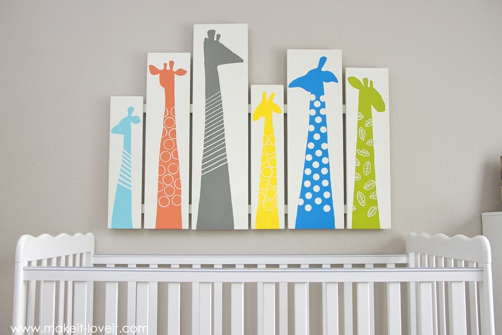 Colourful giraffe silhouette art