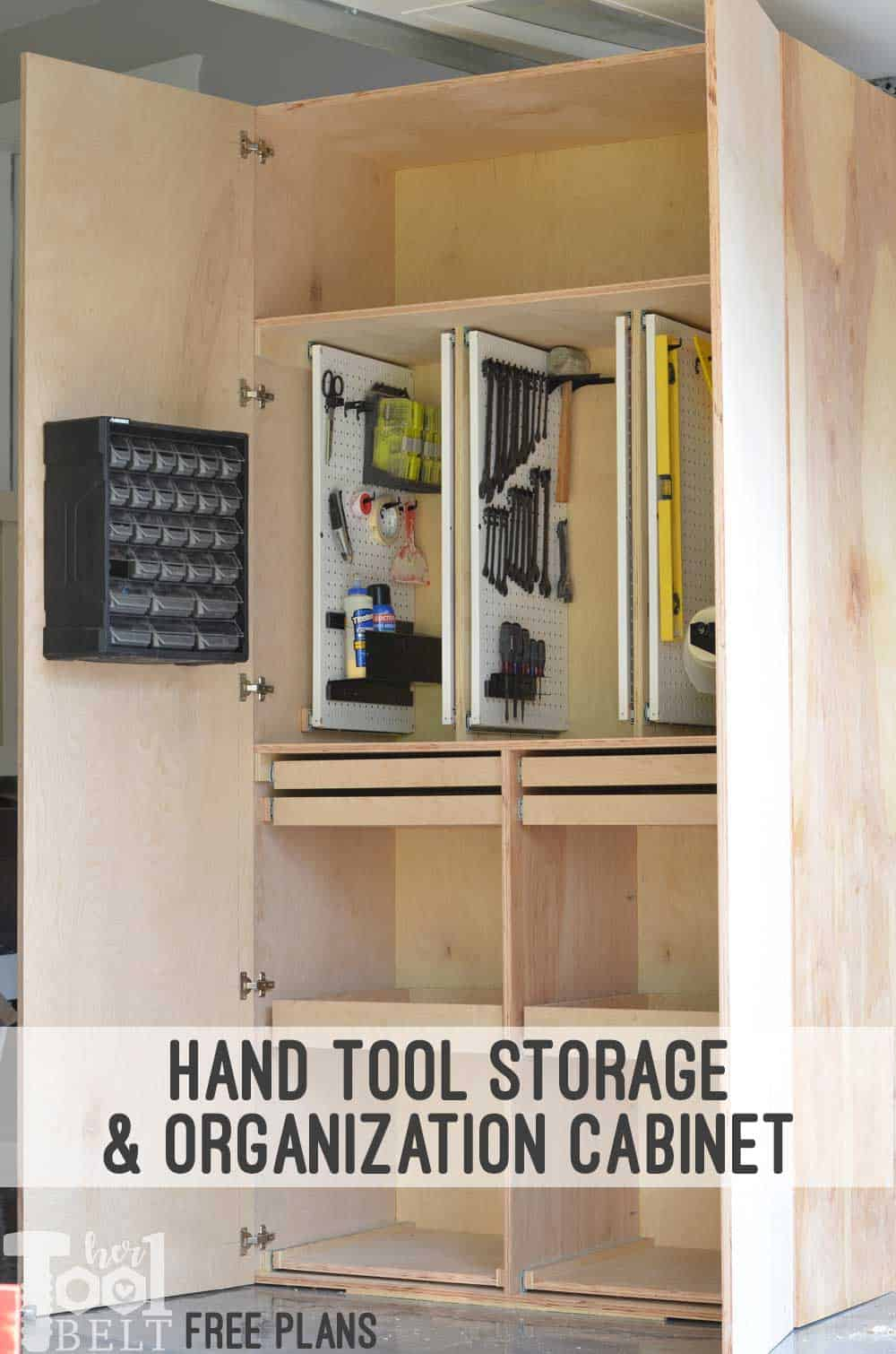 Custom diy hand tool storage cabinet