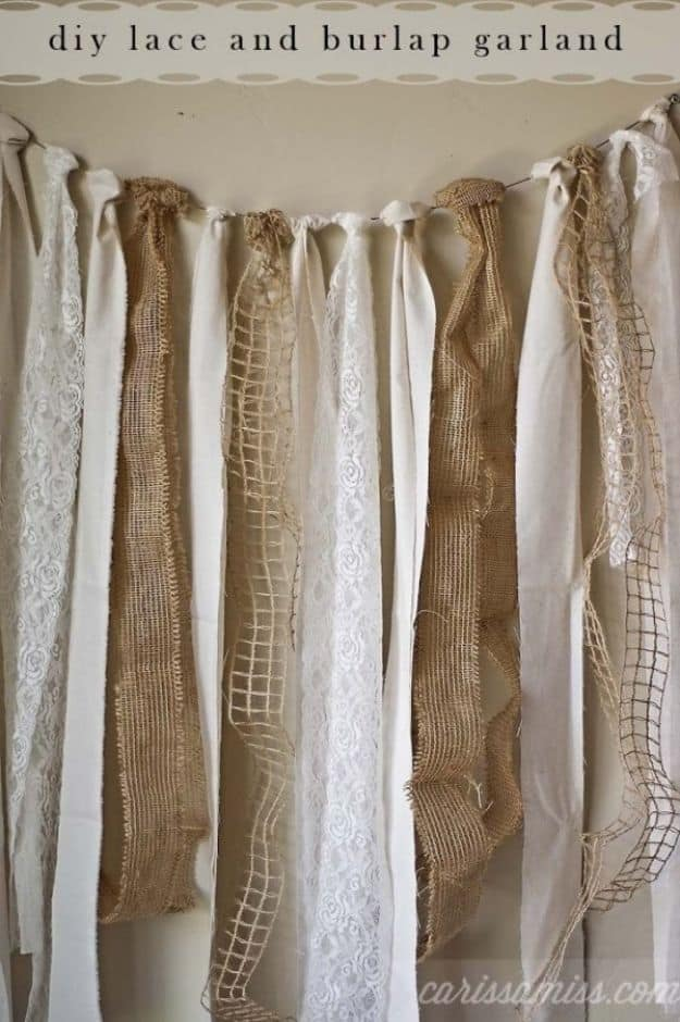 Diy burlap and lace garland