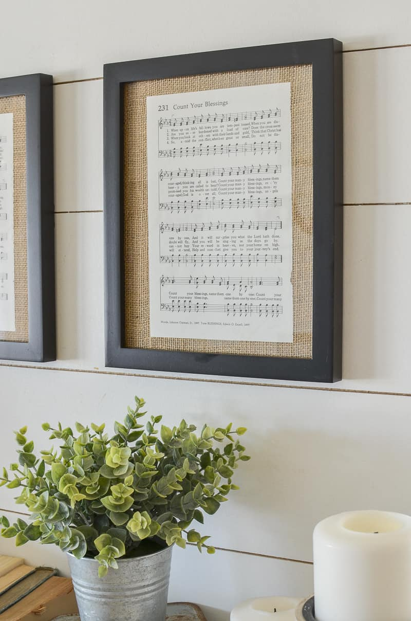 Diy framed vintage hymnal sheet music