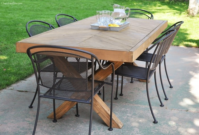 Diy x leg outdoor dining table