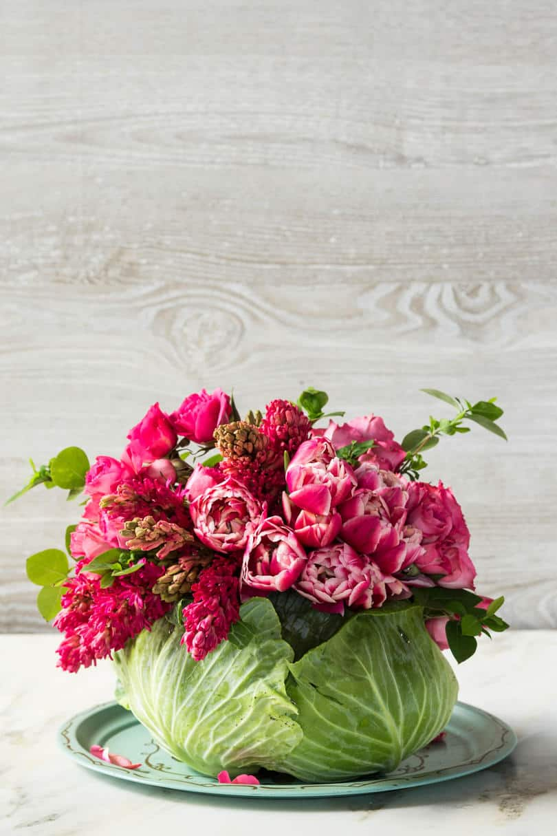 Diy cabbage flower centrepiece