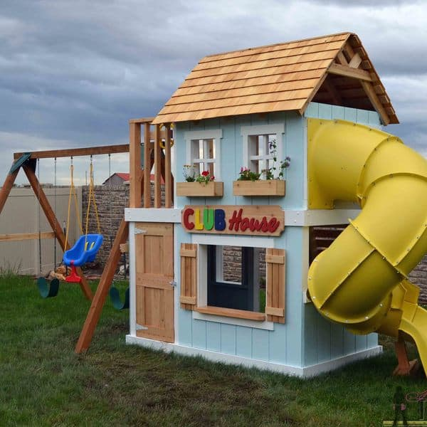 Diy club house and slide swing set