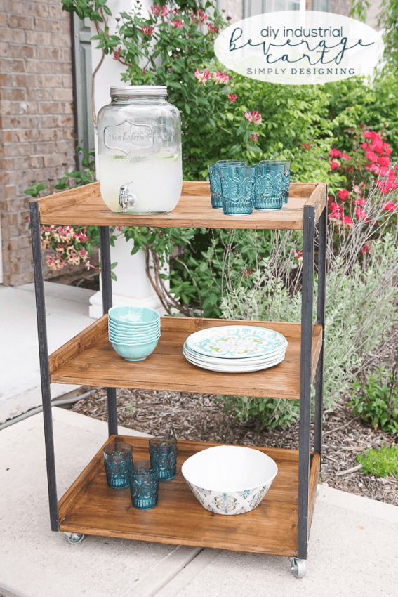 Diy industrial patio beverage cart