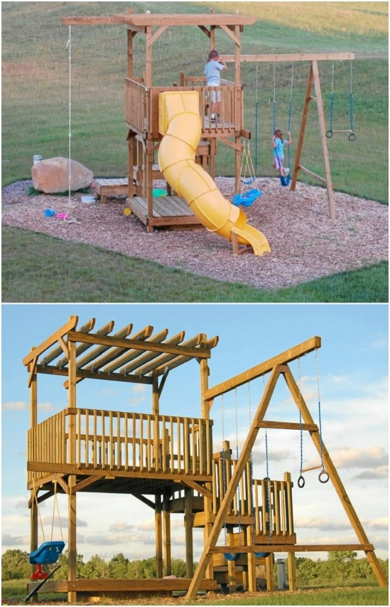 Diy jungle gym with a swing set