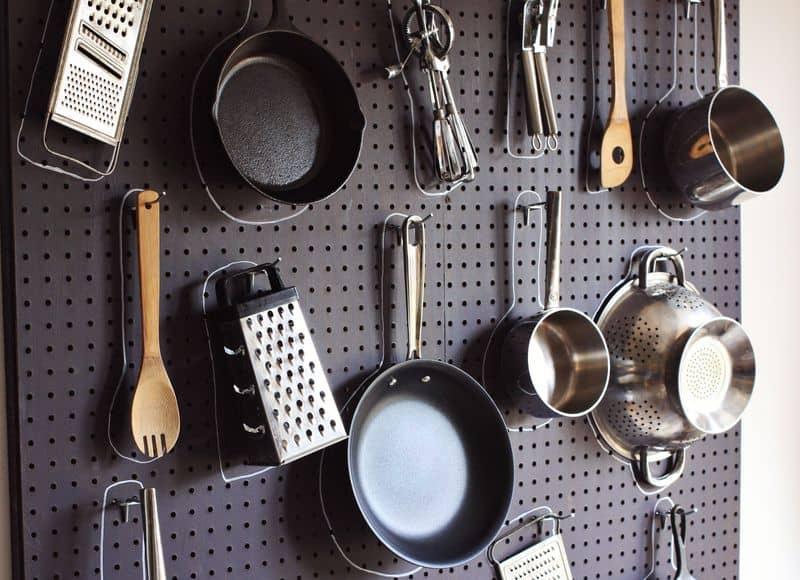 Diy kitchen storage pegboard