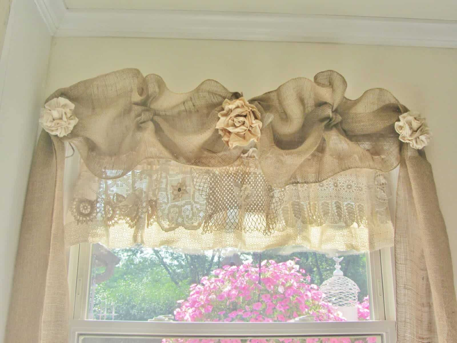 Diy linen and lace window valance