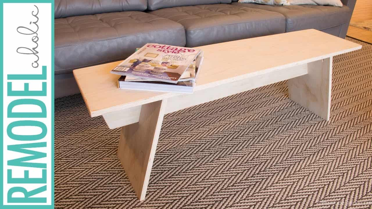 Diy modern angled plywood bench style coffee table
