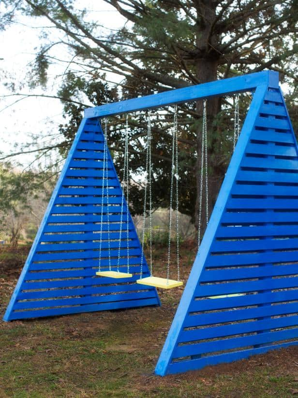 Diy modern frame swing set