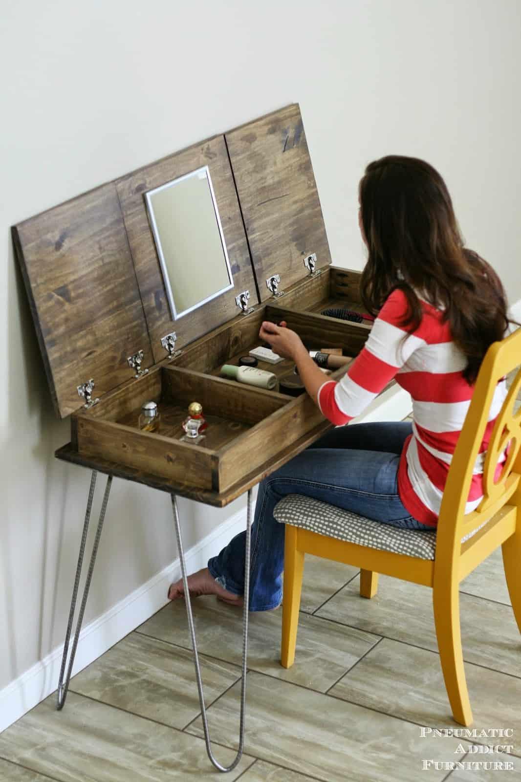 Diy opening vanity hairpin desk