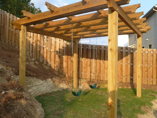 Diy pergola swing set