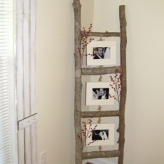 Diy rustic branch photo ladder