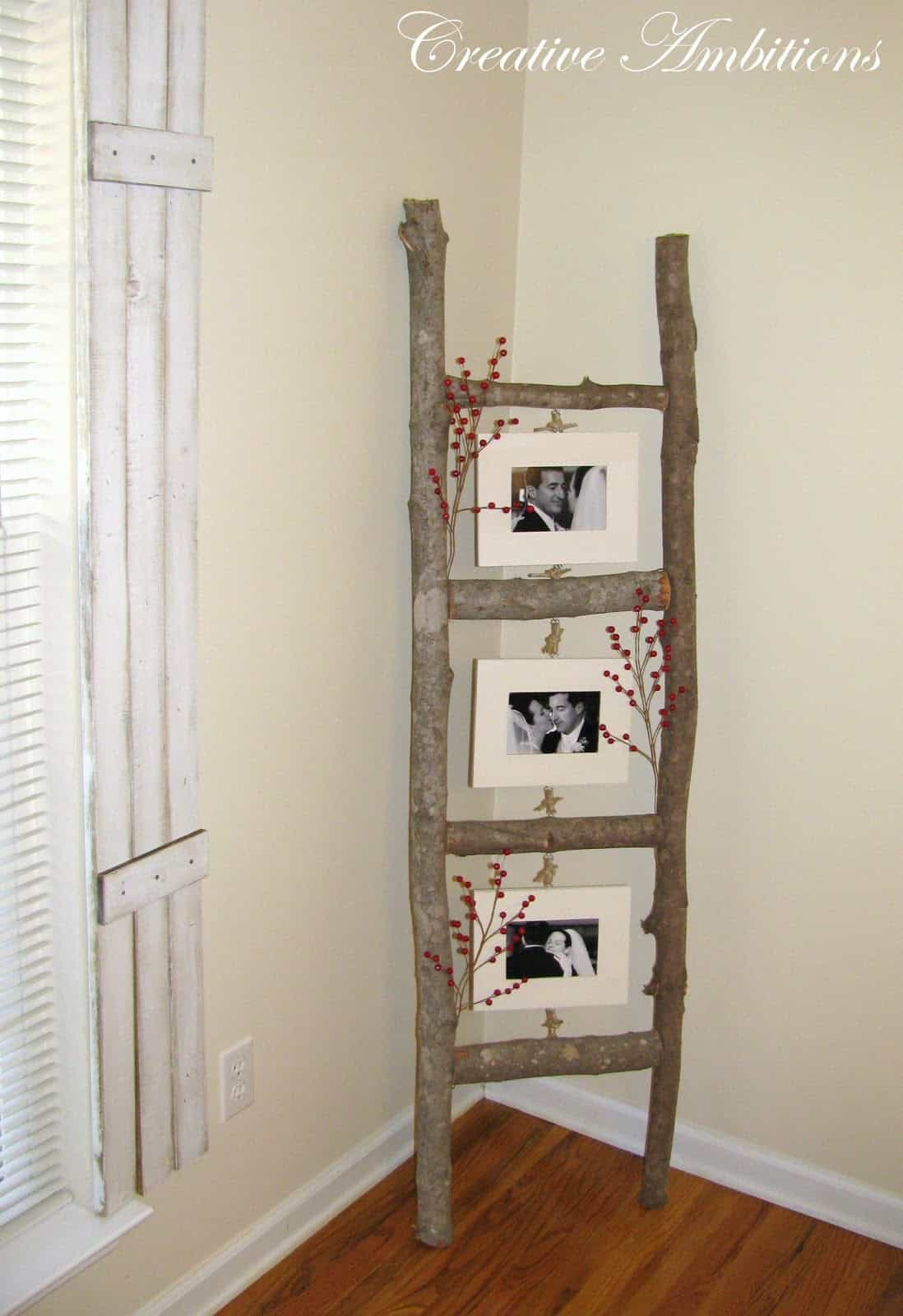 Diy rustic branch photo ladder