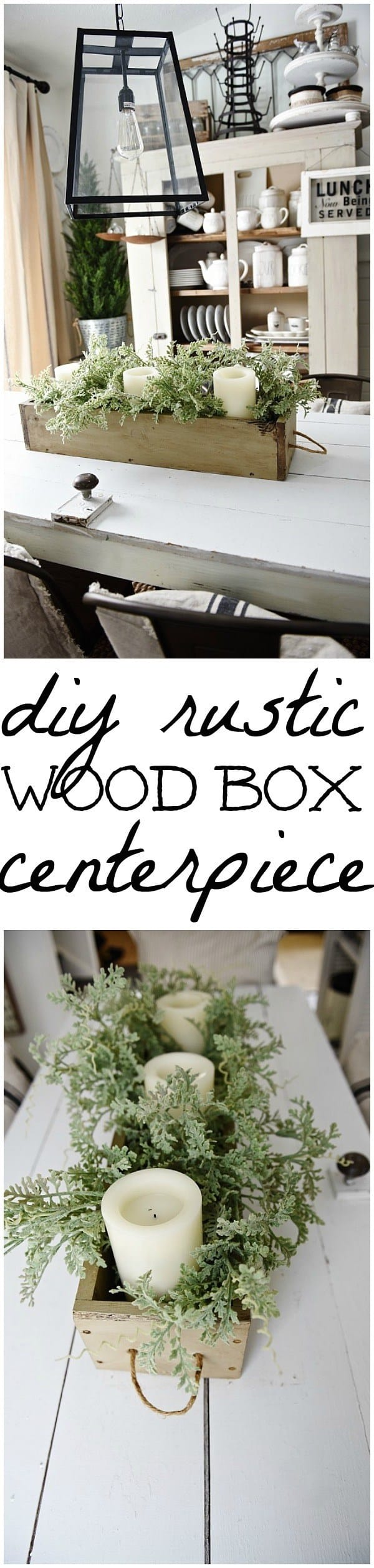 Diy rustic wood boc centrepiece