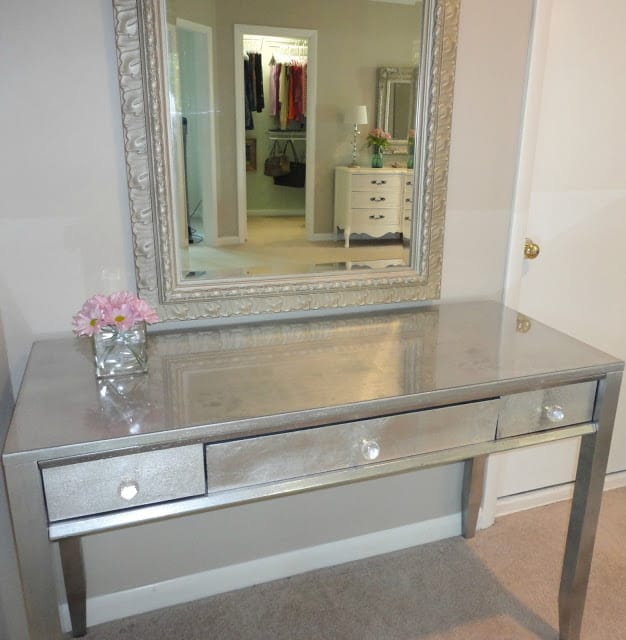 Diy silver leaf vanity from a thrift store desk