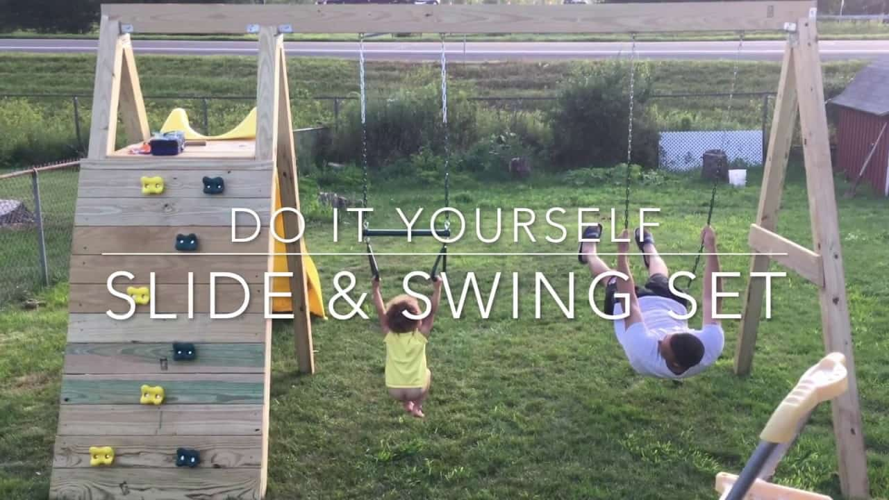 Diy slide and swing set with rock climbing wall