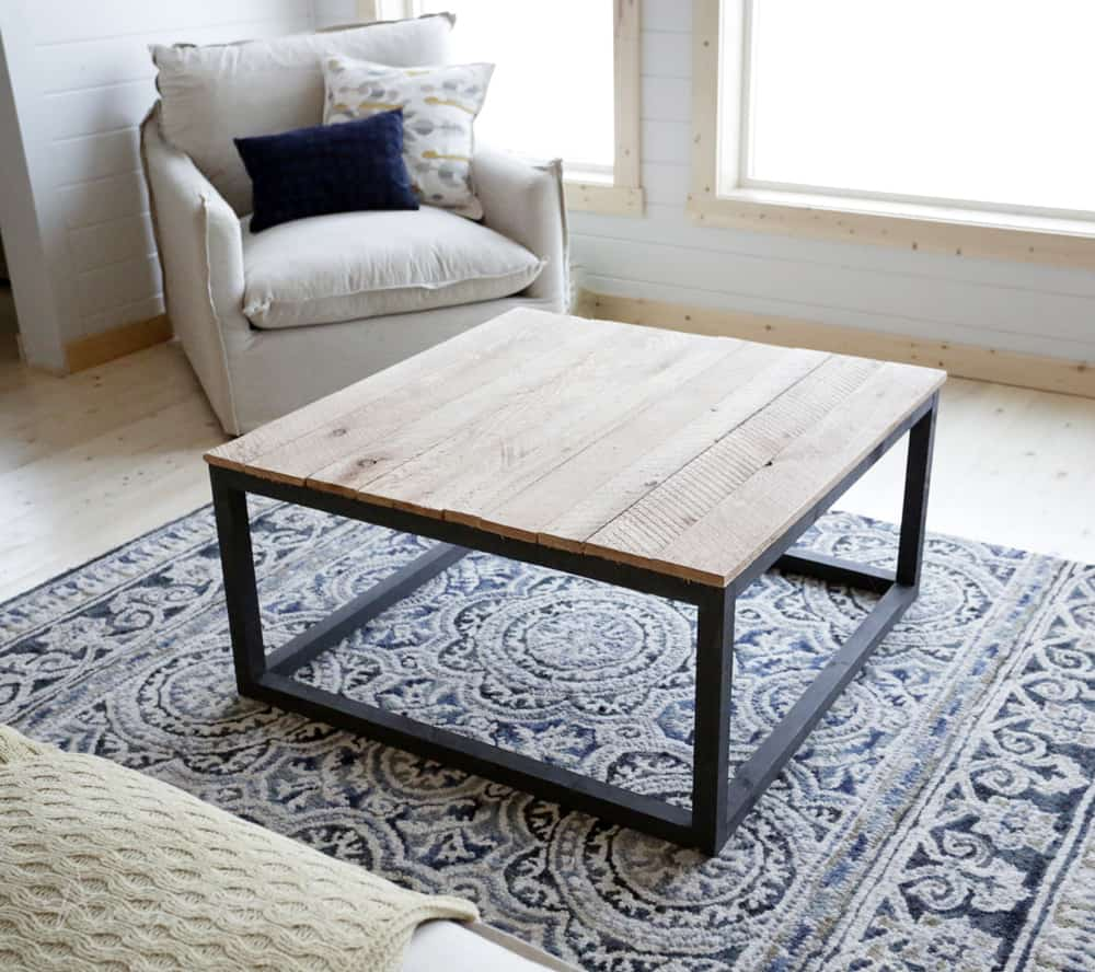 Diy square industrial coffee table