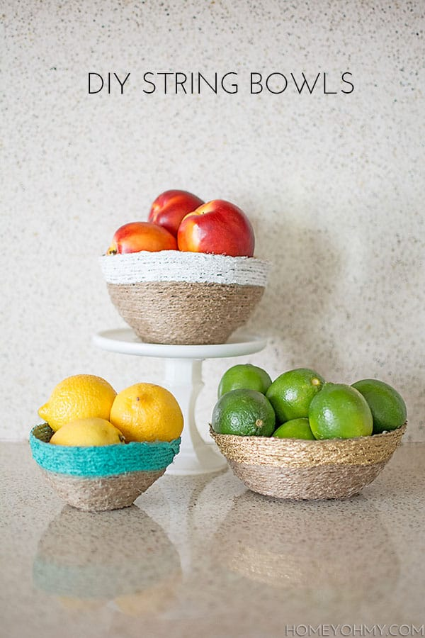 Diy string fruit bowls