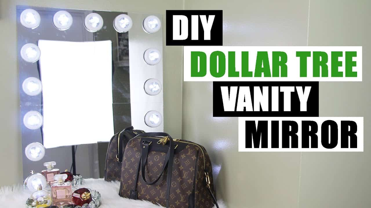 Diy vanity mirror from dollar store press lights