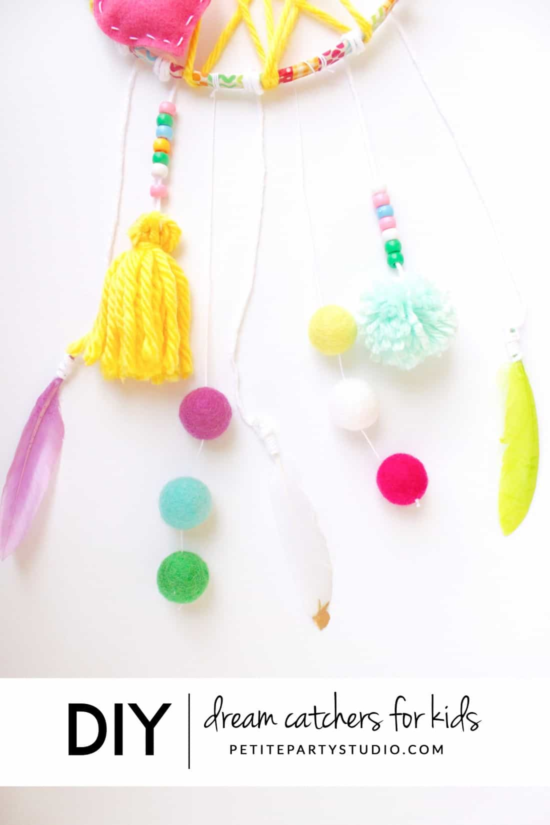 Diy yarn and felt dream catchers