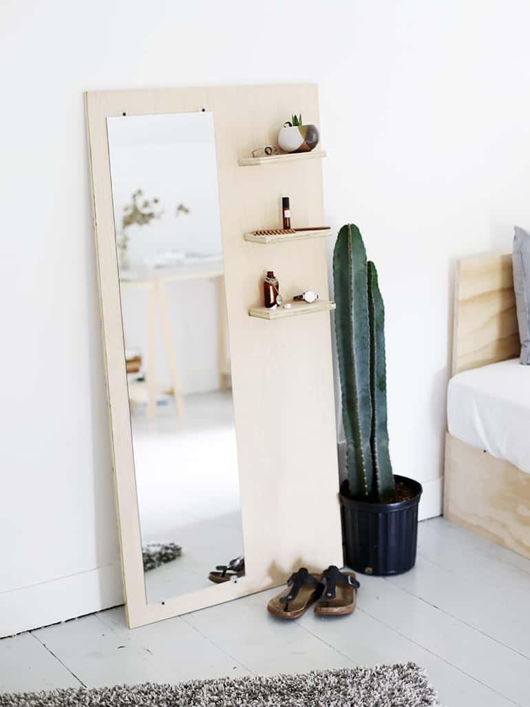 Diy plywood floor mirror with shelves