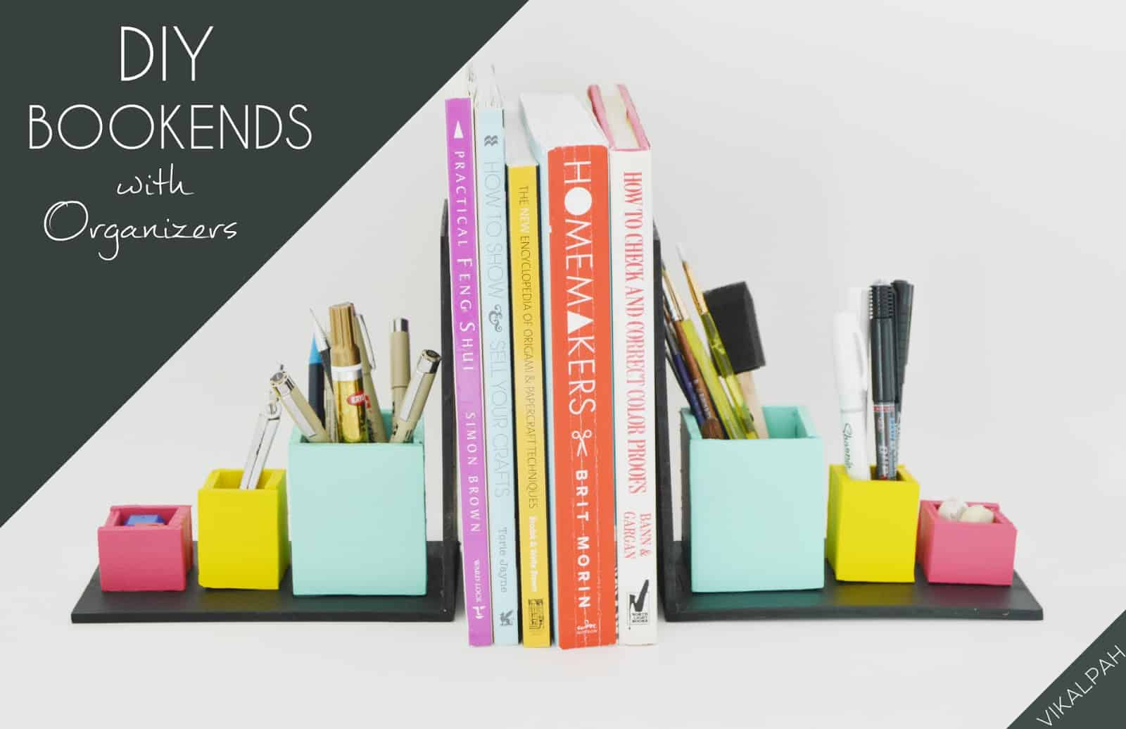 Diy wooden bookends with built in organizers