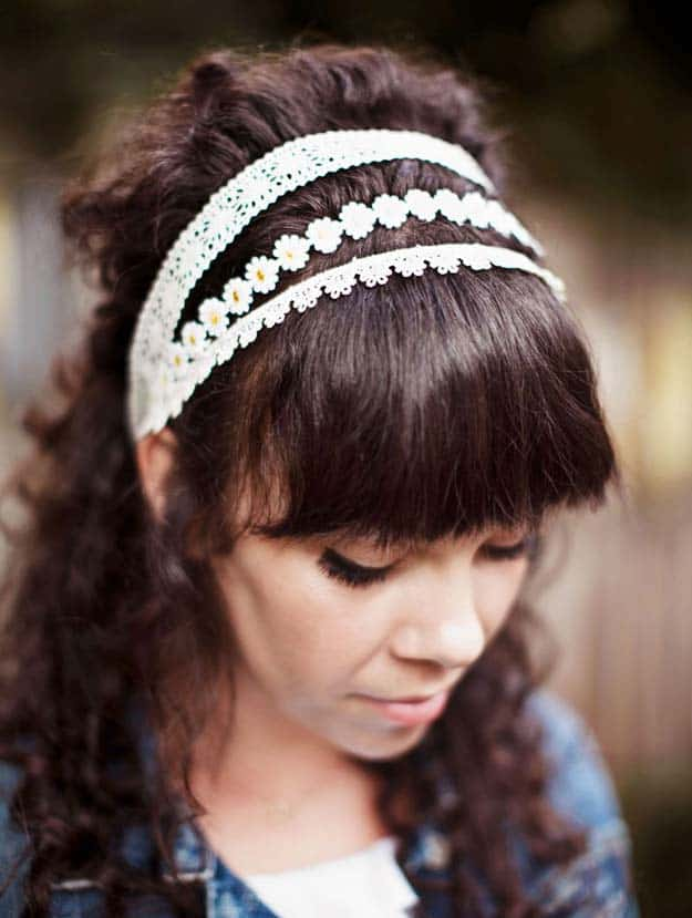 Daisy chain trim and lace hairband