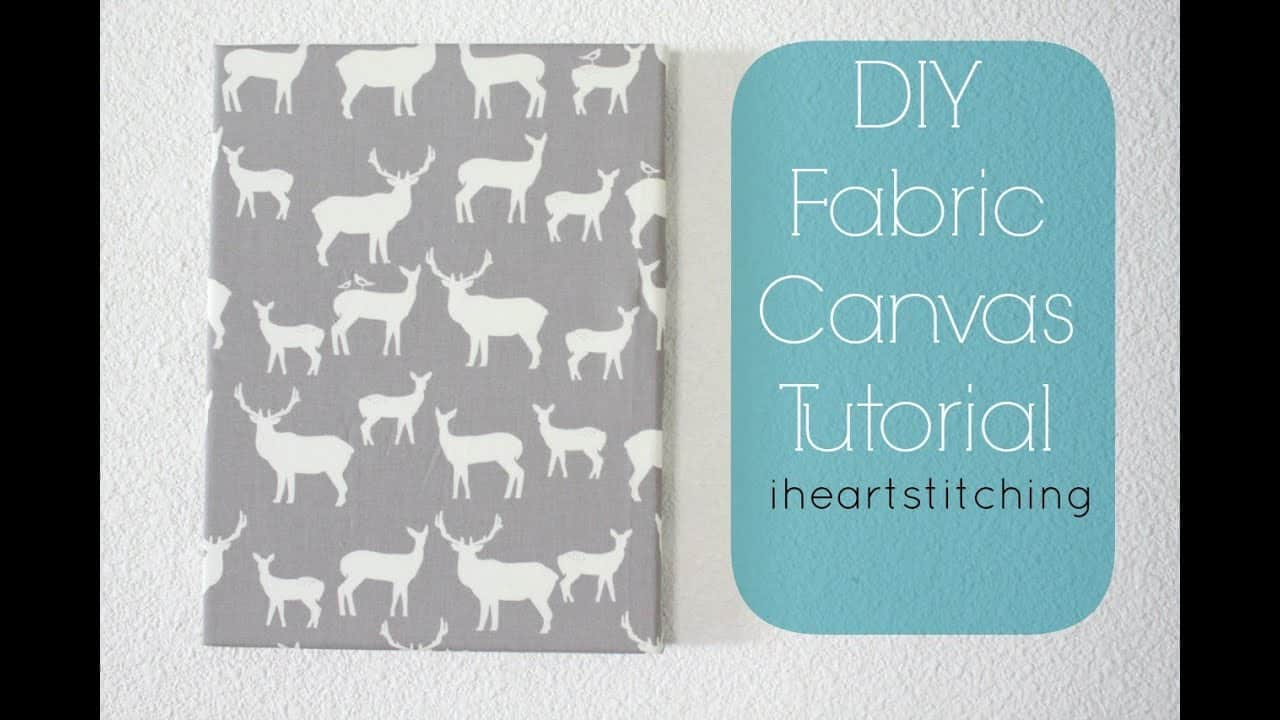 Deer themed stretched fabric canvas