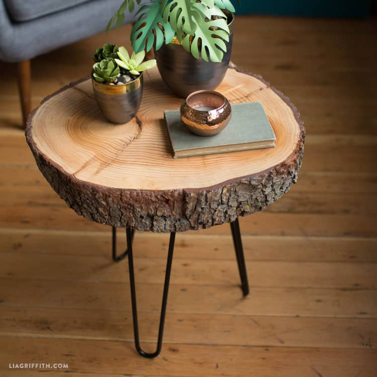 Easy wood slice and hairpin leg table