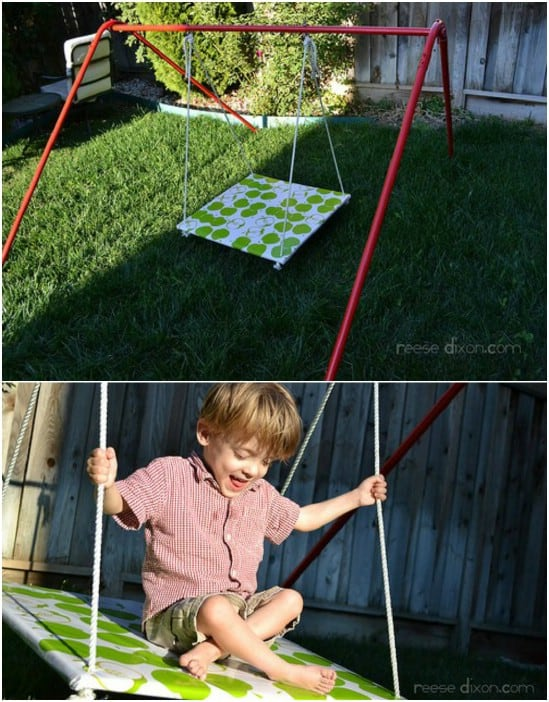 Fabric covered platform swing
