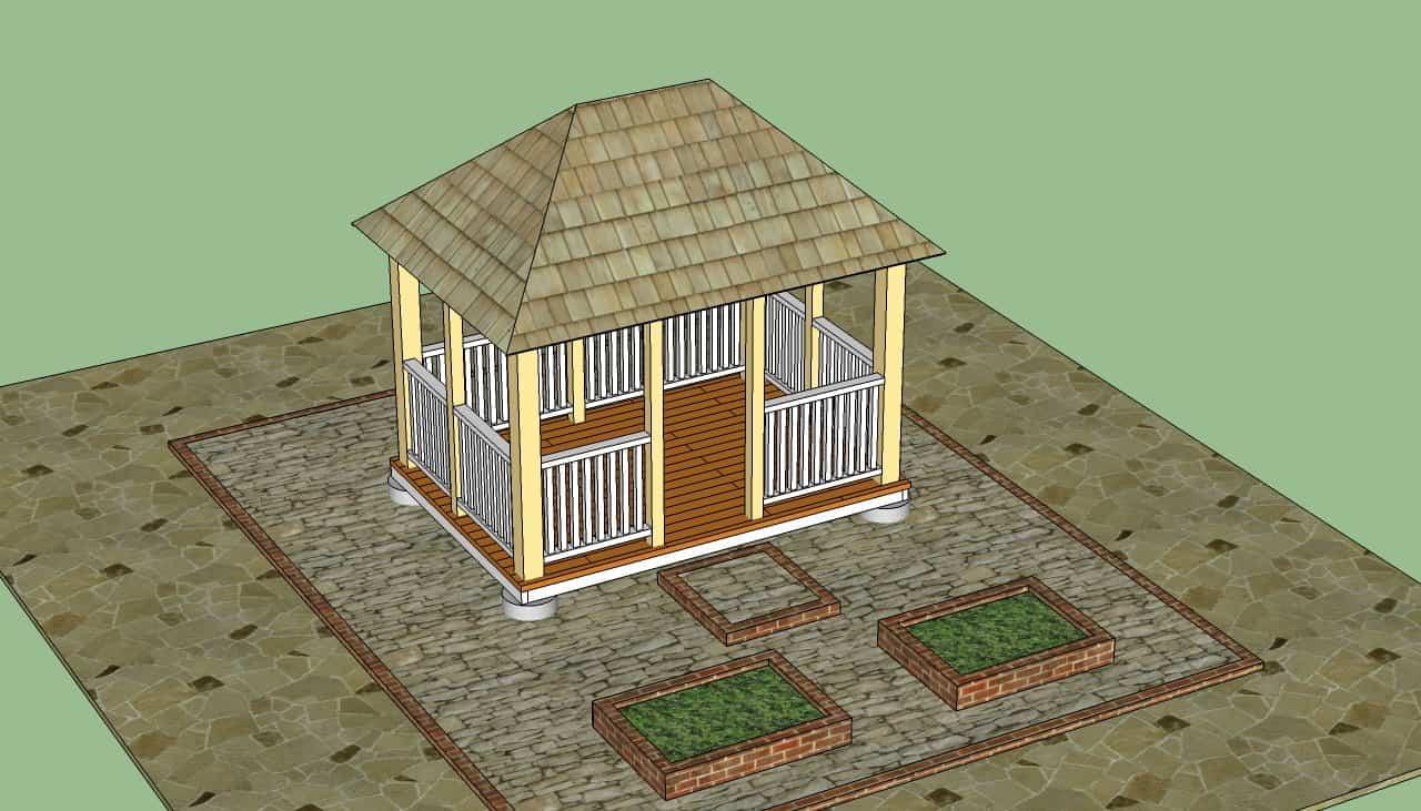 Fenced rectangular gazebo from scratch