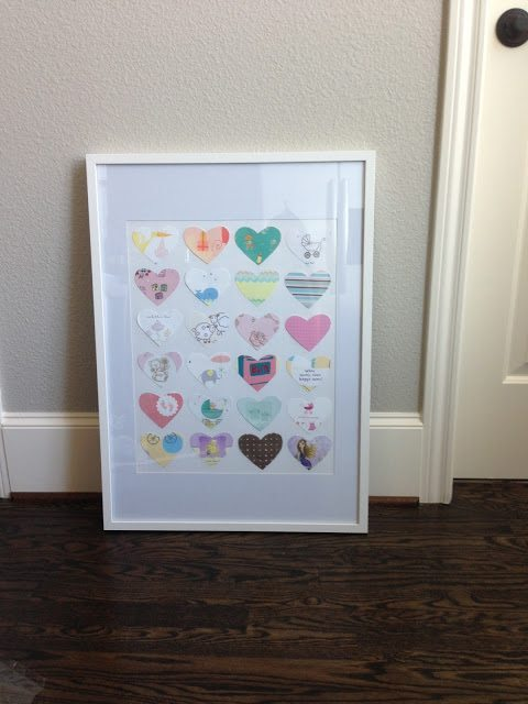 Framed heart baby card art