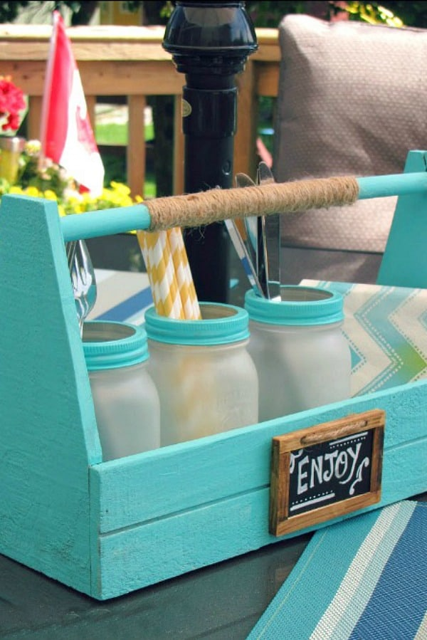 Frosted mason jar patio picnic caddy