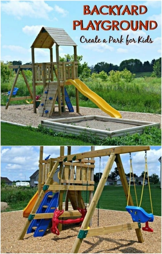 Full backyard playground with a sand box