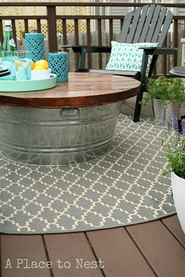 Galvanized bucket patio table