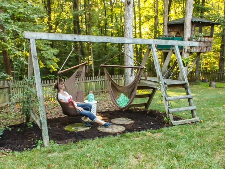 Grown up hammock seat swing set