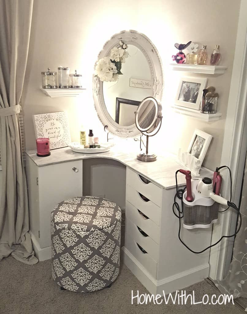 Hair and makeup powder room space from a corner desk and floating shelves