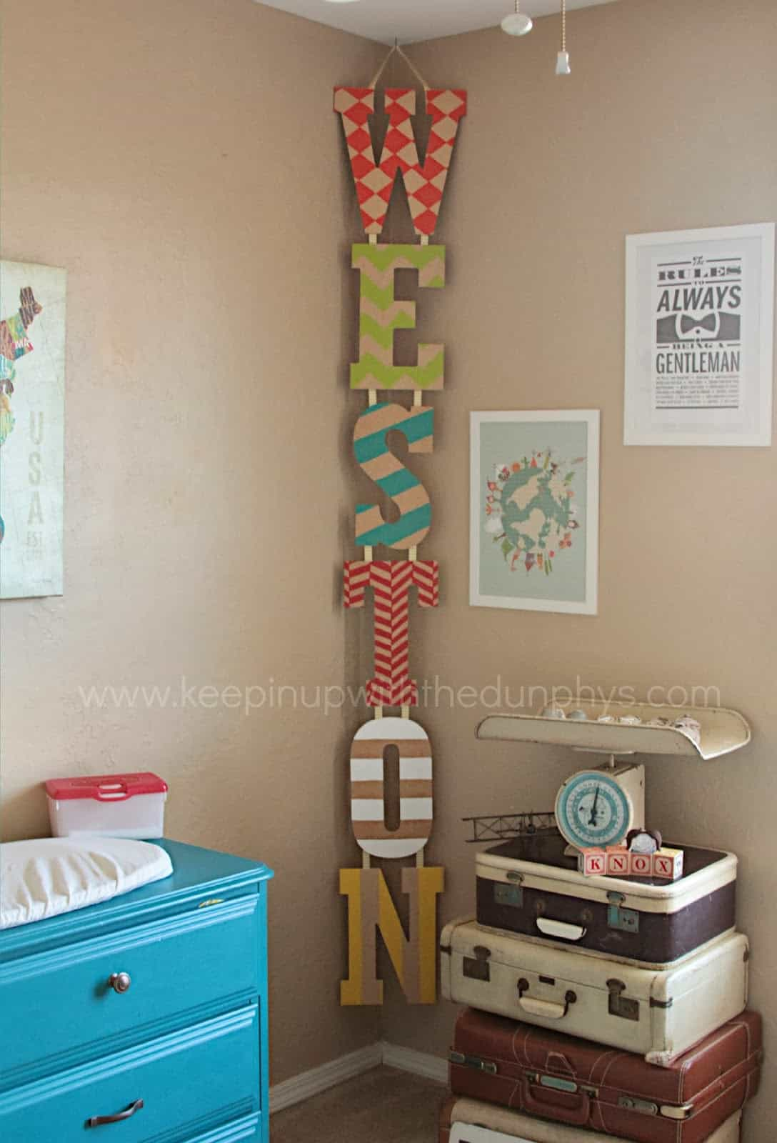Hand painted vertical wooden letter hanger