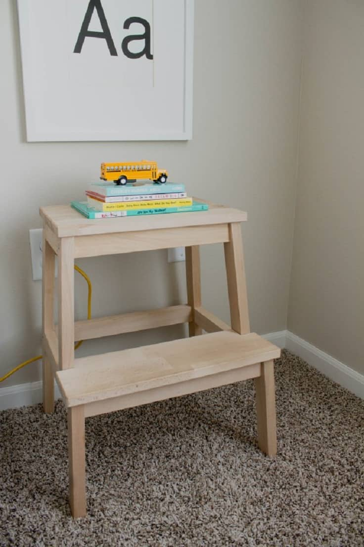 Ikea step stool as a kids' night stand