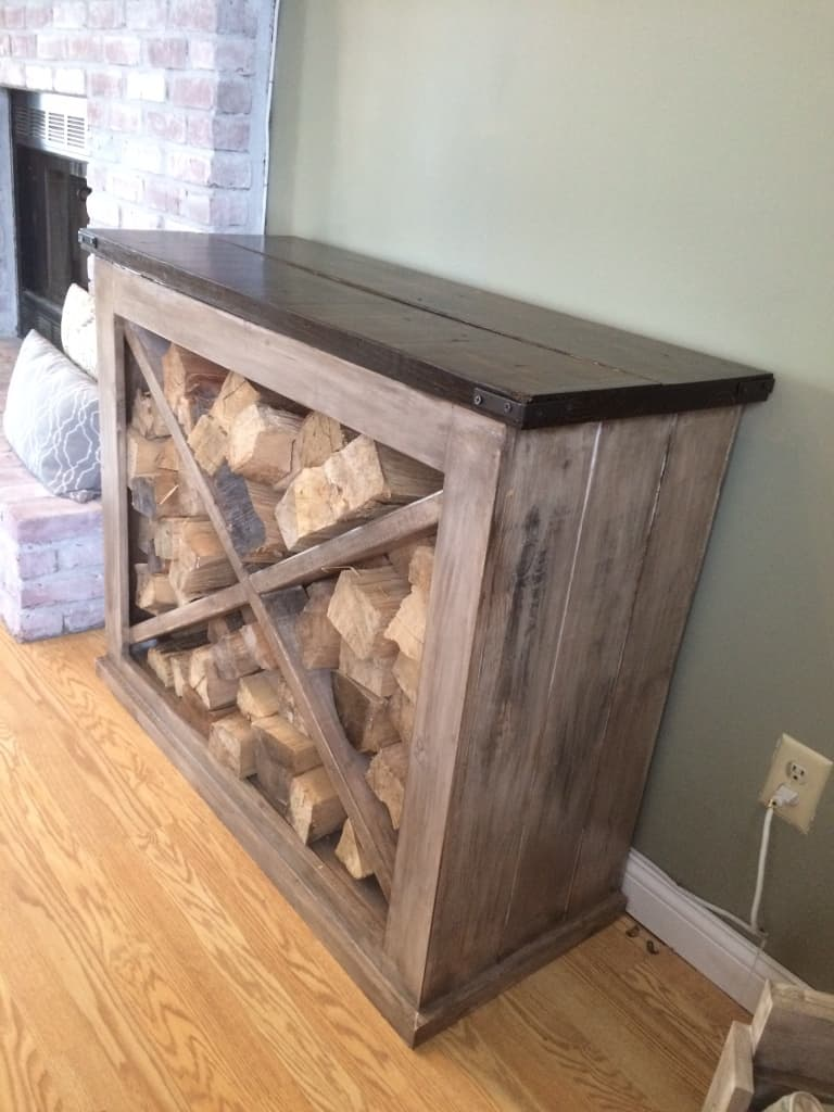 Interior x frame indoor firewood rack