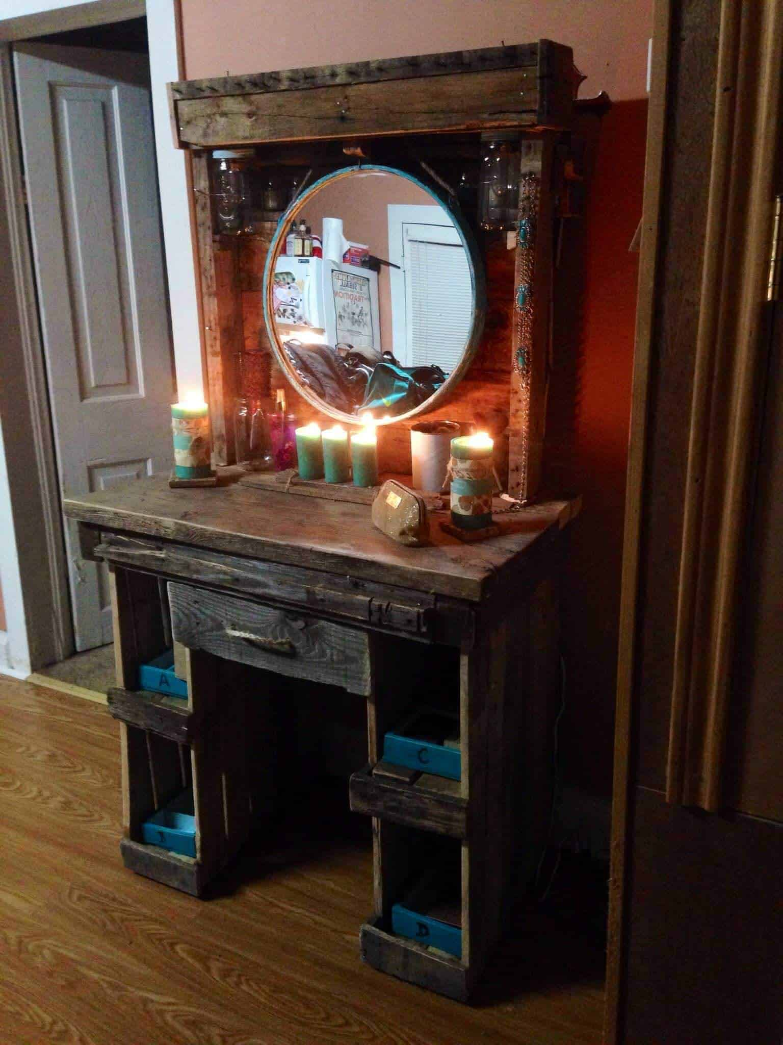 Makeup vanity from reclaimed wooden pallets